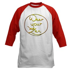 Buddha Zhen's calligraphy and Zen wisdoms on shirts and sweaters.